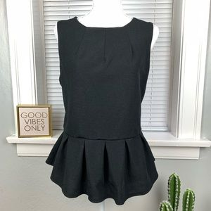 Mossimo Black Peplum Sleeveless Top